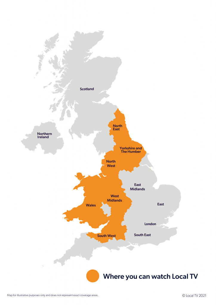 Map of the UK showing Local TV Areas